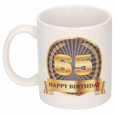 65e verjaardag cadeau beker / mok 300 ml