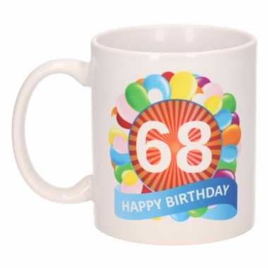 68e verjaardag cadeau beker / mok 300 ml