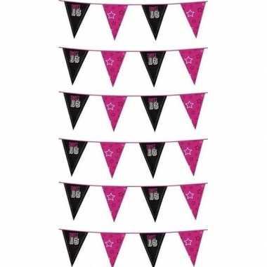 6x feestartikelen sweet 16 vlaggenlijn