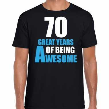 70 great years of being awesome verjaardag cadeau t-shirt zwart voor heren