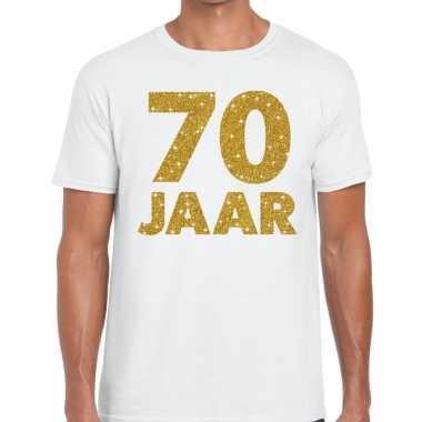 70 jaar goud glitter verjaardag/jubileum kado shirt wit heren