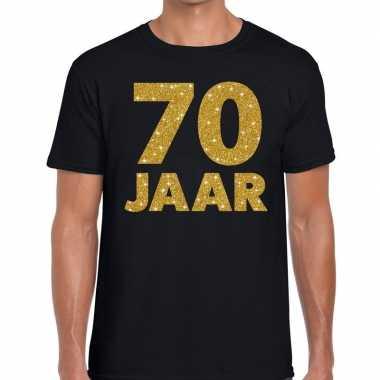 70 jaar goud glitter verjaardag/jubileum kado shirt zwart heren