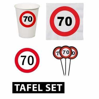 70 jaar tafel versiering pakket verkeersbord
