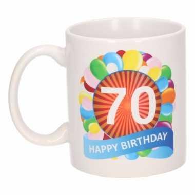 70e verjaardag cadeau beker / mok 300 ml