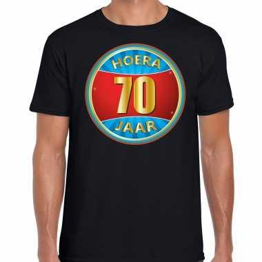 70e verjaardag cadeau t-shirt hoera 70 jaar zwart voor heren
