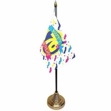 70ste verjaardag tafelvlaggetje 10 x 15 cm met standaard