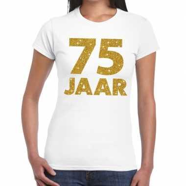 75 jaar goud glitter verjaardag/jubileum kado shirt wit dames
