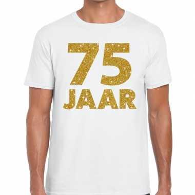 75 jaar goud glitter verjaardag/jubileum kado shirt wit heren