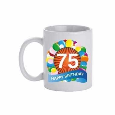 75e verjaardag cadeau beker / mok 300 ml