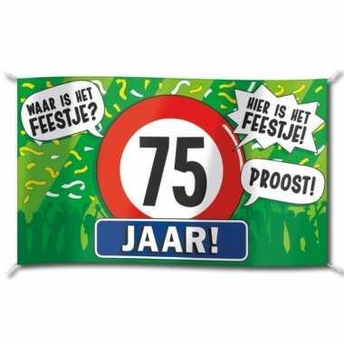 75e verjaardag straatvlag 100x150 cm