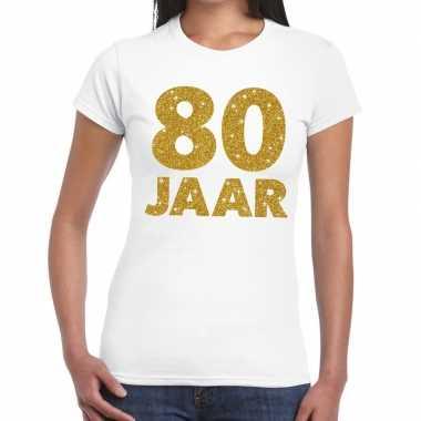 80 jaar goud glitter verjaardag/jubileum kado shirt wit dames
