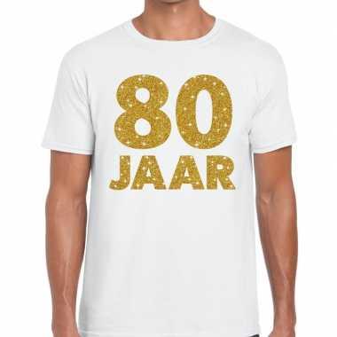 80 jaar goud glitter verjaardag/jubileum kado shirt wit heren