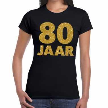 80 jaar goud glitter verjaardag/jubileum kado shirt zwart dames