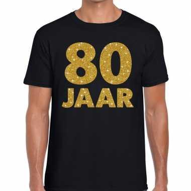80 jaar goud glitter verjaardag/jubileum kado shirt zwart heren