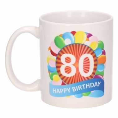 80e verjaardag cadeau beker / mok 300 ml