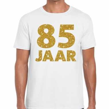 85 jaar goud glitter verjaardag kado shirt wit heren