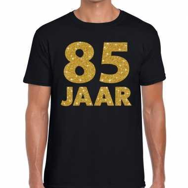 85 jaar goud glitter verjaardag kado shirt zwart heren