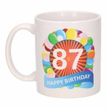 87e verjaardag cadeau beker / mok 300 ml