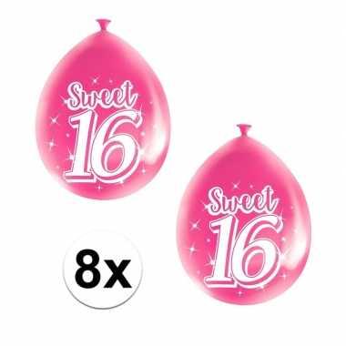 8x roze sweet 16 verjaardag ballonnen
