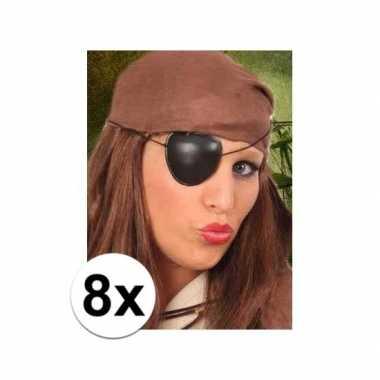 8x stuks piraten feest ooglapjes