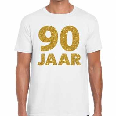 90 jaar goud glitter verjaardag kado shirt wit heren