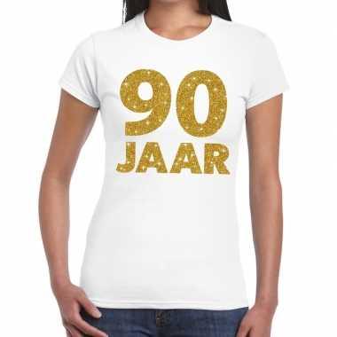 90 jaar goud glitter verjaardag kado shirt wit voor dames