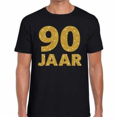 90 jaar goud glitter verjaardag kado shirt zwart heren