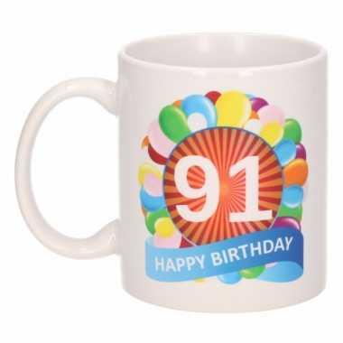 91e verjaardag cadeau beker / mok 300 ml