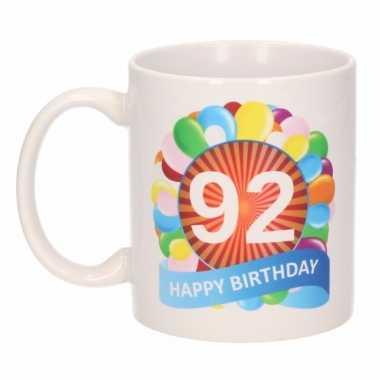 92e verjaardag cadeau beker / mok 300 ml