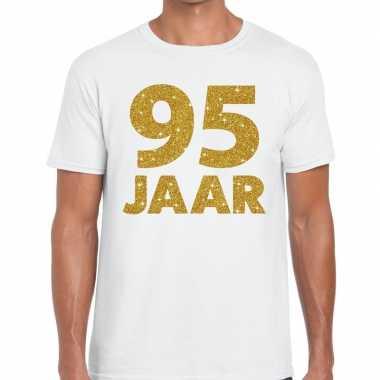 95 jaar goud glitter verjaardag kado shirt wit heren