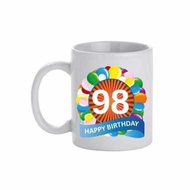 98e verjaardag cadeau beker / mok 300 ml