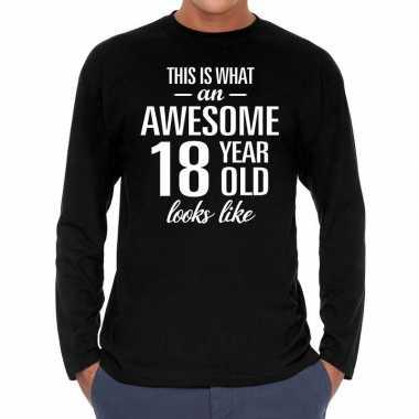 Awesome 18 year / 18 jaar cadeaushirt long sleeves zwart heren