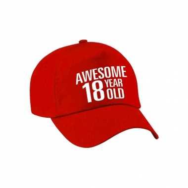 Awesome 18 year old verjaardag pet / cap rood voor dames en heren