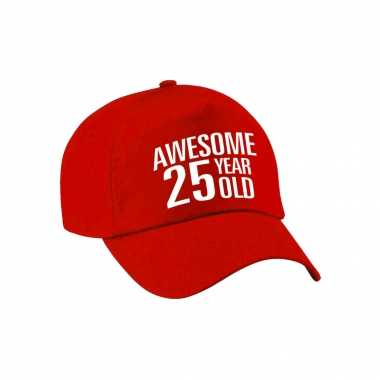 Awesome 25 year old verjaardag pet / cap rood voor dames en heren