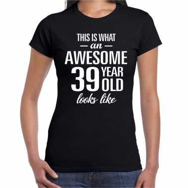 Awesome 39 year / 39 jaar cadeau t-shirt zwart dames