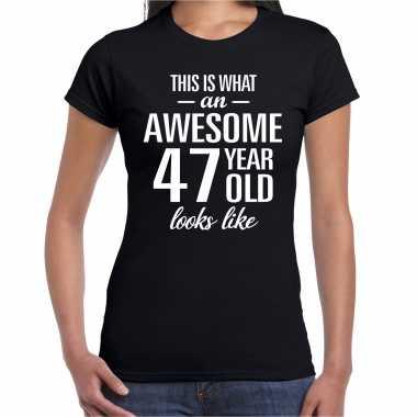 Awesome 47 year / 47 jaar cadeau t-shirt zwart dames