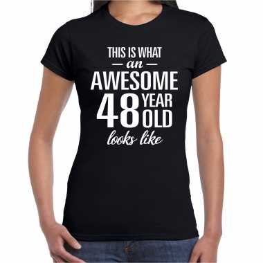 Awesome 48 year / 48 jaar cadeau t-shirt zwart dames
