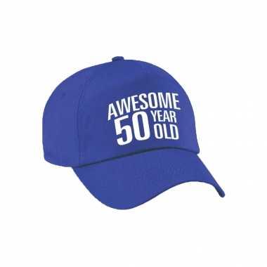 Awesome 50 year old verjaardag pet / cap blauw voor dames en heren
