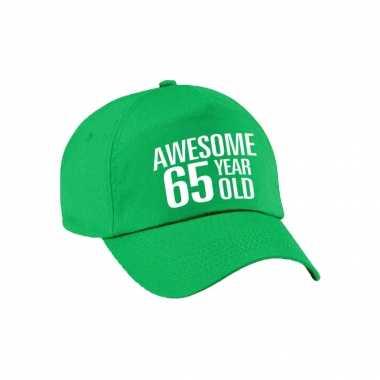 Awesome 65 year old verjaardag pet / cap groen voor dames en heren