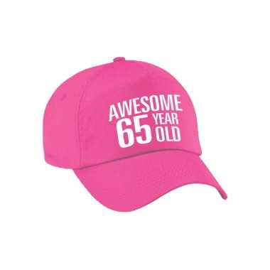Awesome 65 year old verjaardag pet / cap roze voor dames en heren