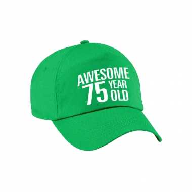 Awesome 75 year old verjaardag pet / cap groen voor dames en heren