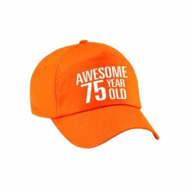 Awesome 75 year old verjaardag pet / cap oranje voor dames en heren