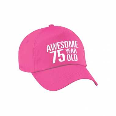 Awesome 75 year old verjaardag pet / cap roze voor dames en heren