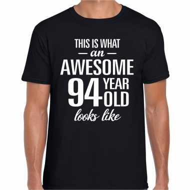 Awesome 94 year / 94 jaar cadeau t-shirt zwart heren