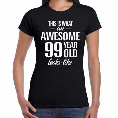 Awesome 99 year / 99 jaar cadeau t-shirt zwart dames