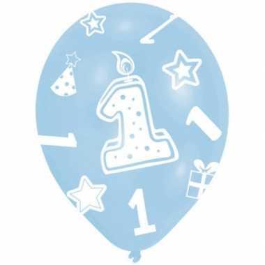 Baby ballonnen blauw 1 jaar 6 stuks