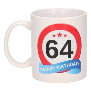 Beker / mok 64 jaar verkeersbord