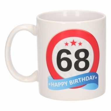 Beker / mok 68 jaar verkeersbord