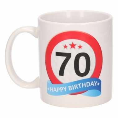 Beker / mok 70 jaar verkeersbord