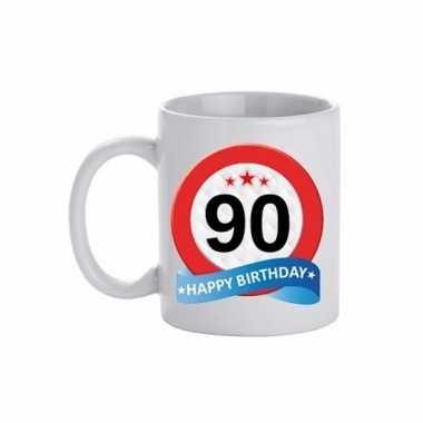 Beker / mok 90 jaar verkeersbord